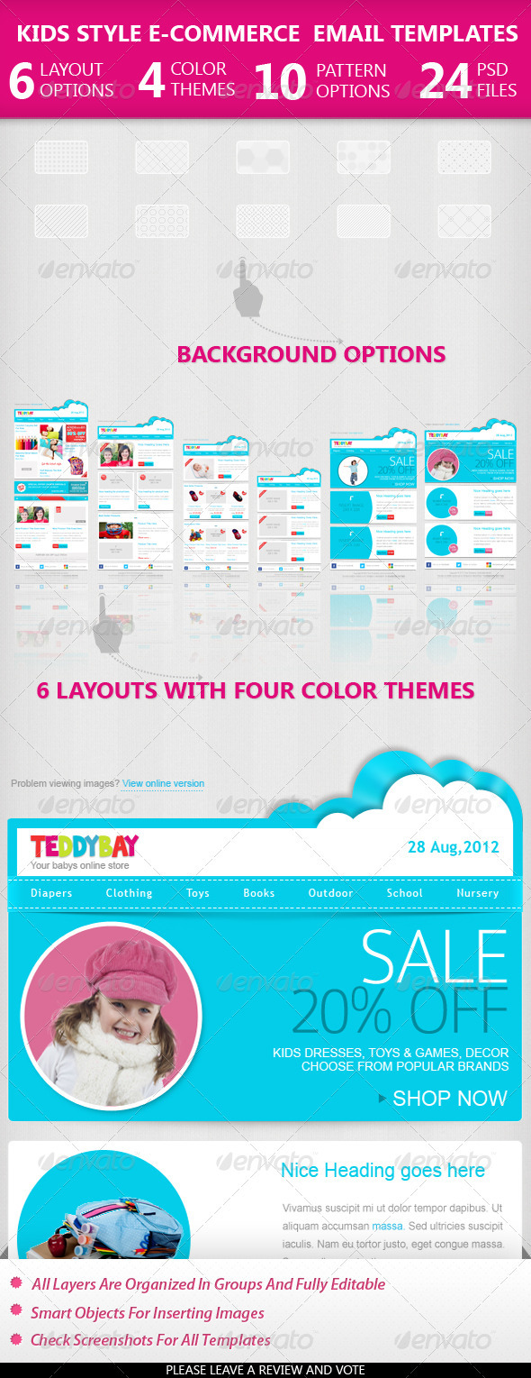Kids Style Ecommerce Email Templates - E-newsletters Web Elements