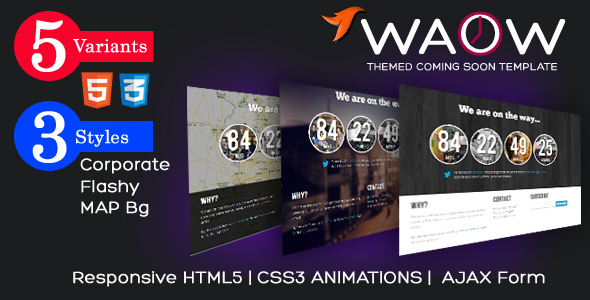 WAOW - Unique Responsive 'Coming Soon' HTML5