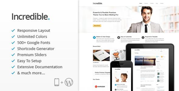 ThemeForest Incredible Responsive WordPress Theme 3016398