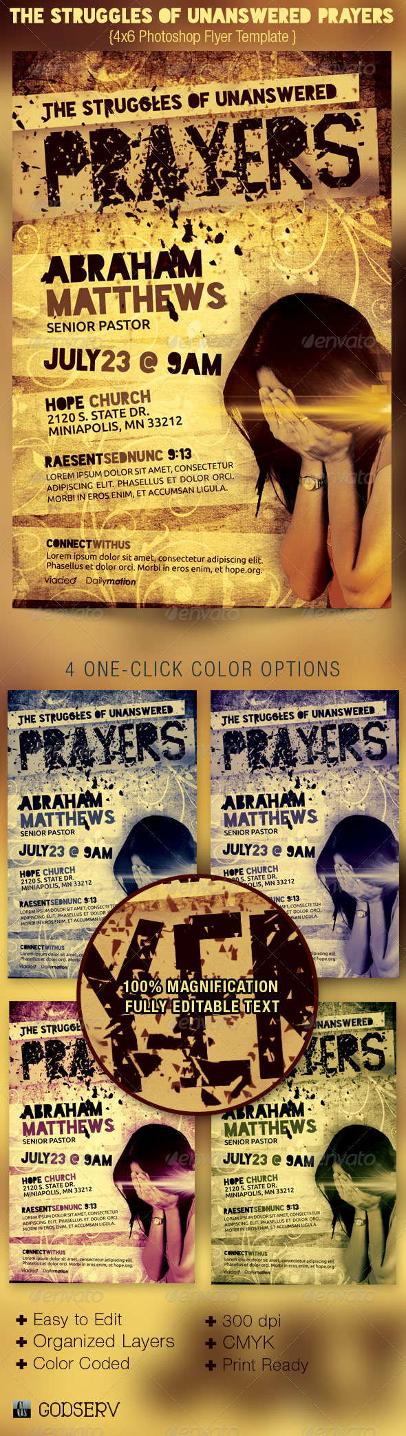 The Struggles of Unanswered Prayers Flyer Template - Church Flyers