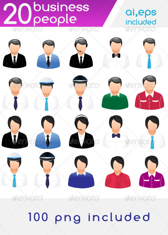 20 professional people icons - People Characters