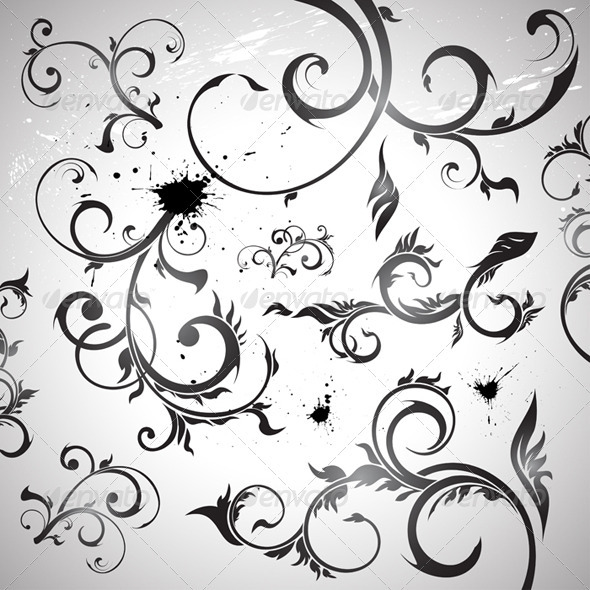 Floral design elements - Flourishes / Swirls Decorative