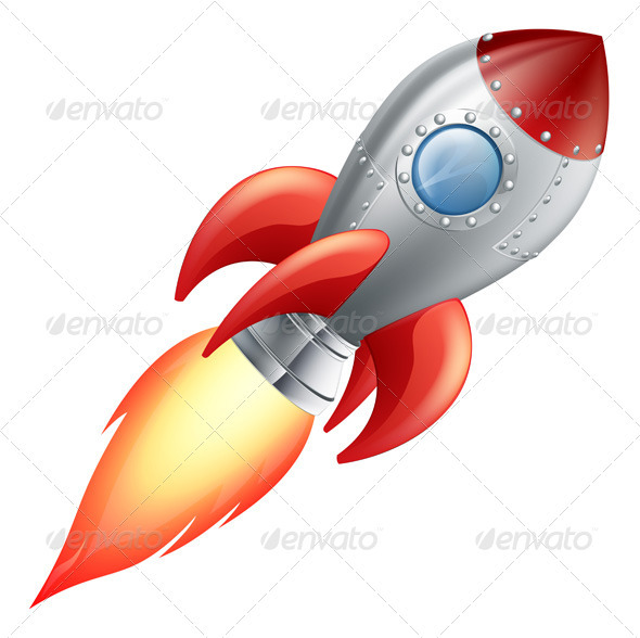 Cartoon rocket space ship - Travel Conceptual