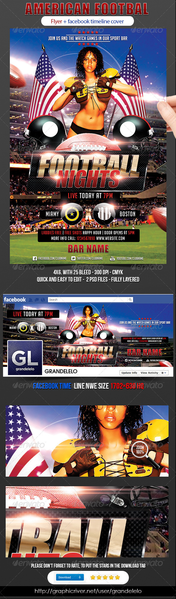 GraphicRiver American Football Flyer 3039022