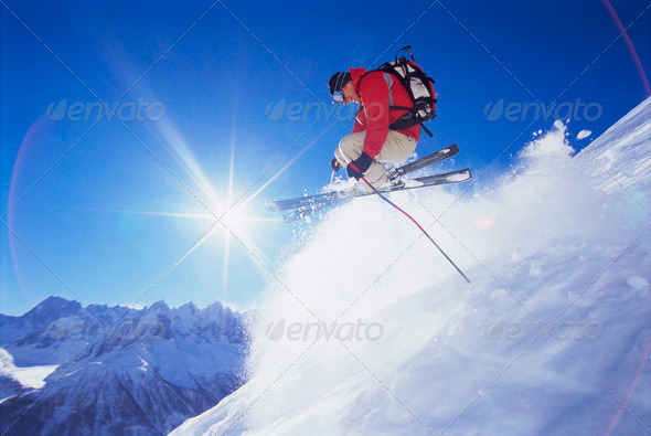 Young man skiing - Stock Photo - Images