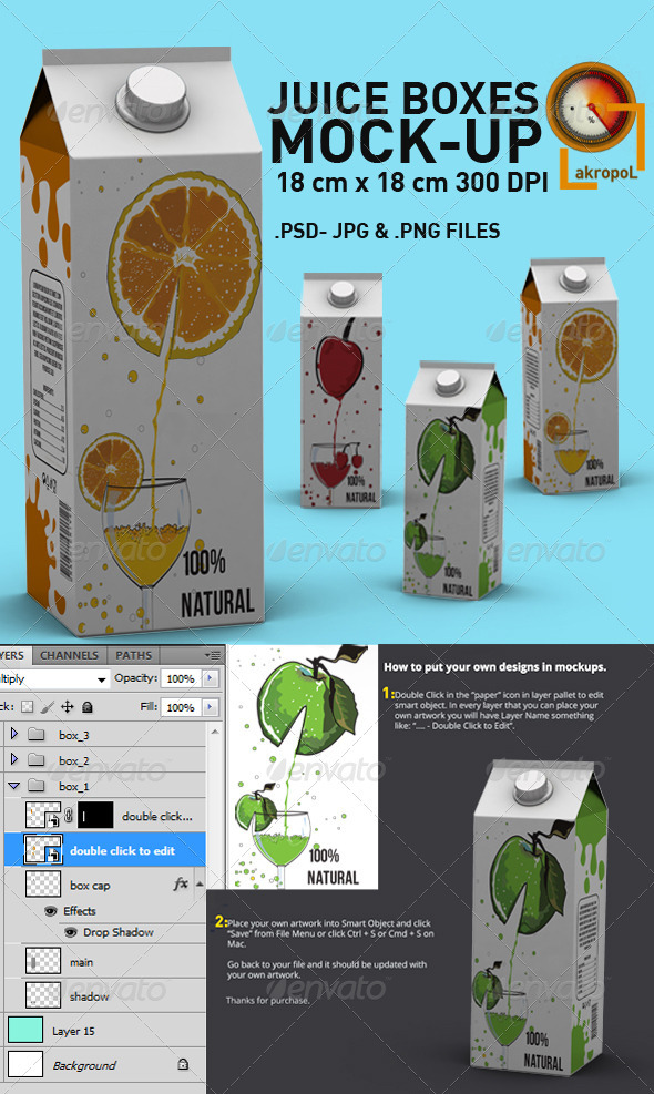 Juice Boxes Mock Up - Backgrounds Graphics