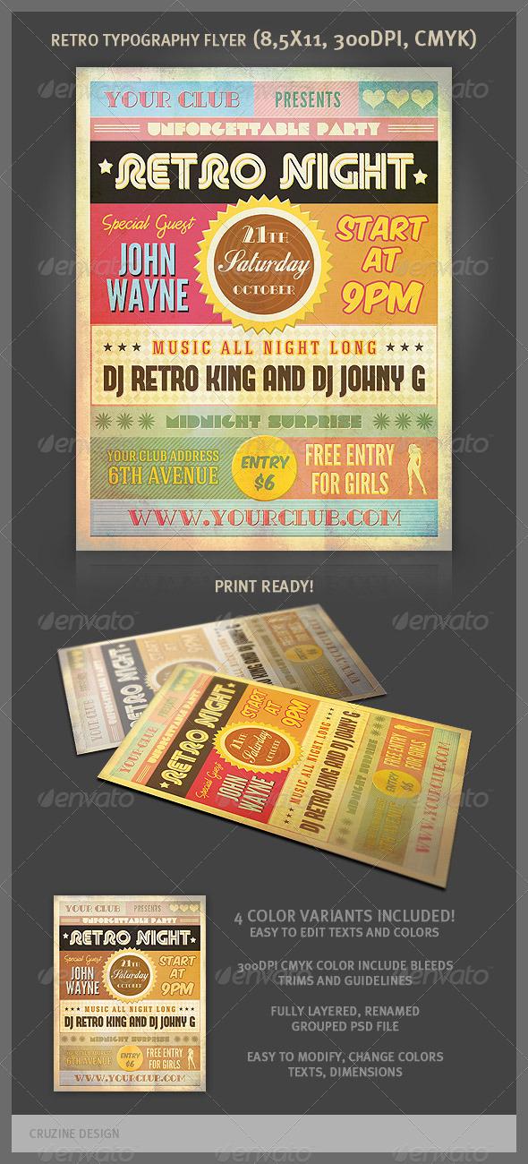 Retro Typography Party Flyer