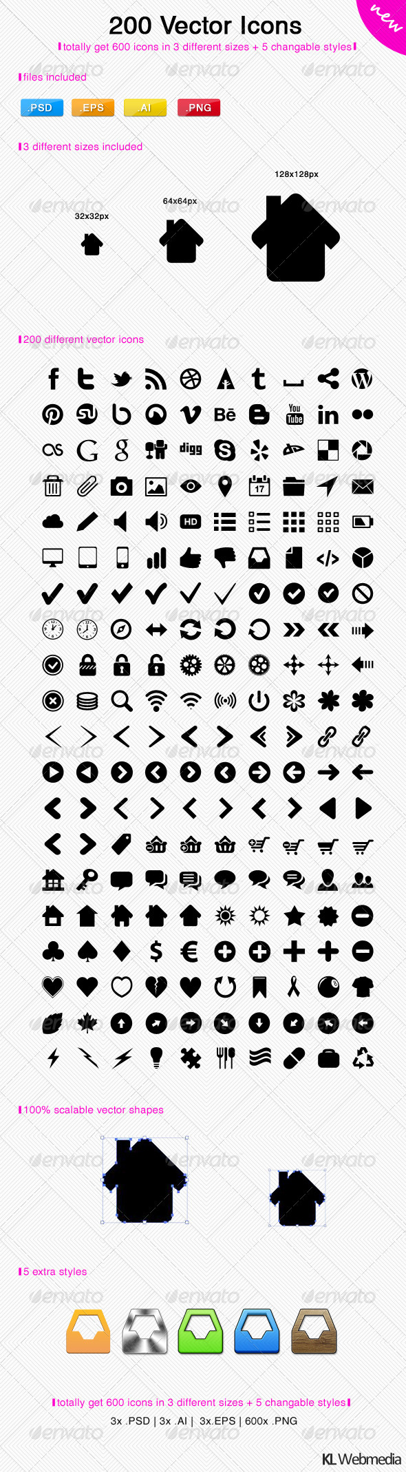 GraphicRiver 200 Vector Icons 3016360
