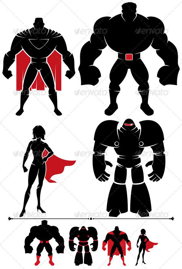 Superhero Silhouette - Characters Vectors