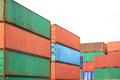 Stack of Cargo Containers  awaiting transportation on white back - PhotoDune Item for Sale