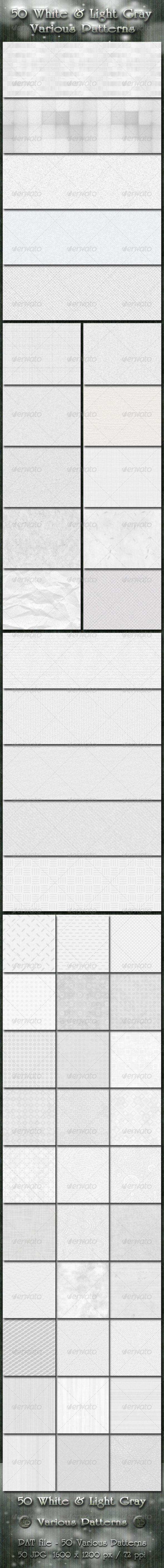 GraphicRiver 50 White and Light Gray Various Patterns 3041421