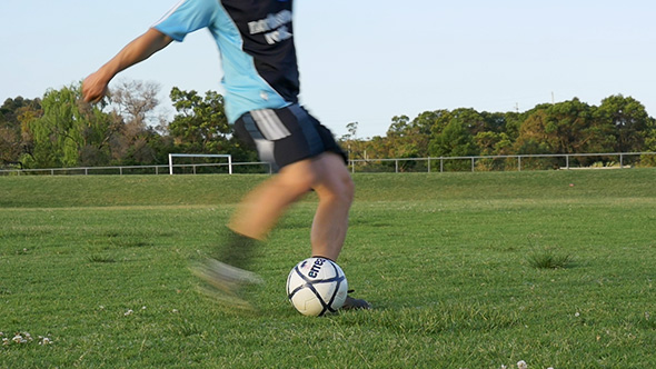 VideoHive Soccer Player Kicking A Ball Slow Motion 9861993