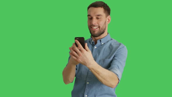 VideoHive Mid Shot of a Stylish Man Making Video Call and Showing Pointing at Sights Behind Him 19462437