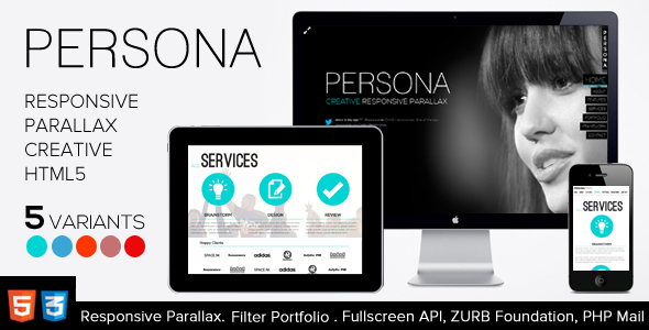 ThemeForest Persona HTML5 Responsive Creative Parallax 3036342