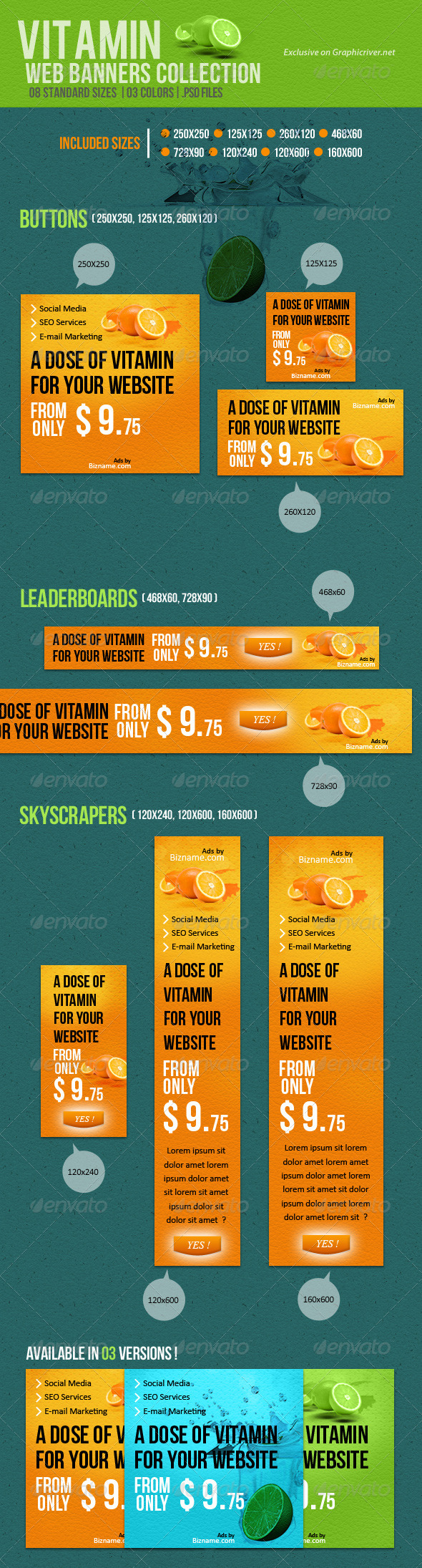 Vitamin Web Banners Collection - Banners & Ads Web Elements