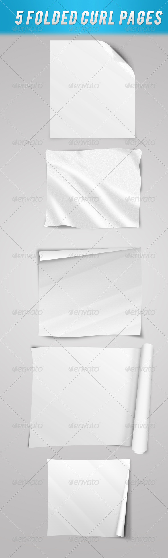 5 Folded Curl Pages  - Decorative Graphics