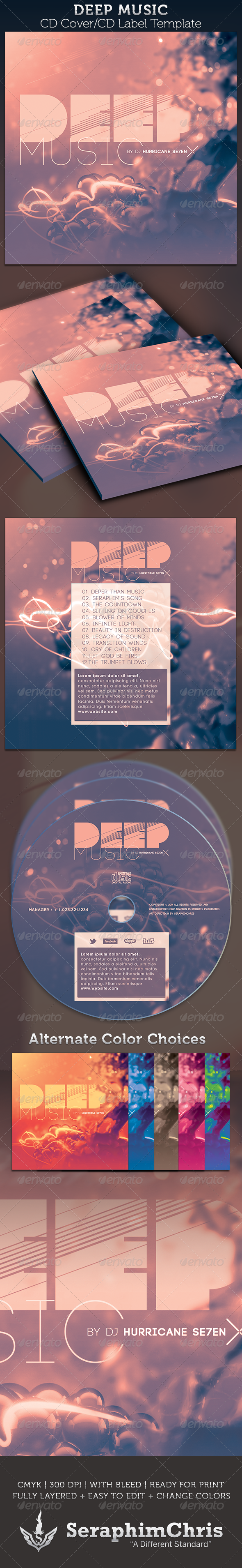 GraphicRiver Deep Music CD Cover Artwork Template 3046872