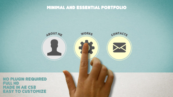 AE模板:迷你个人信息网站 作品介绍宣传 网站推广模板Minimal and Essential Portfolio
