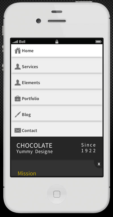 Chocolate Retina-Ready Mobile Template