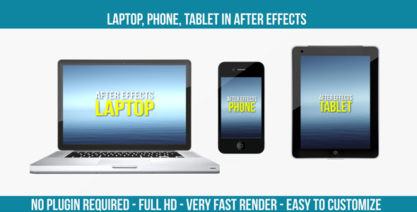 Laptop, Phone, Tablet Made In After Effects