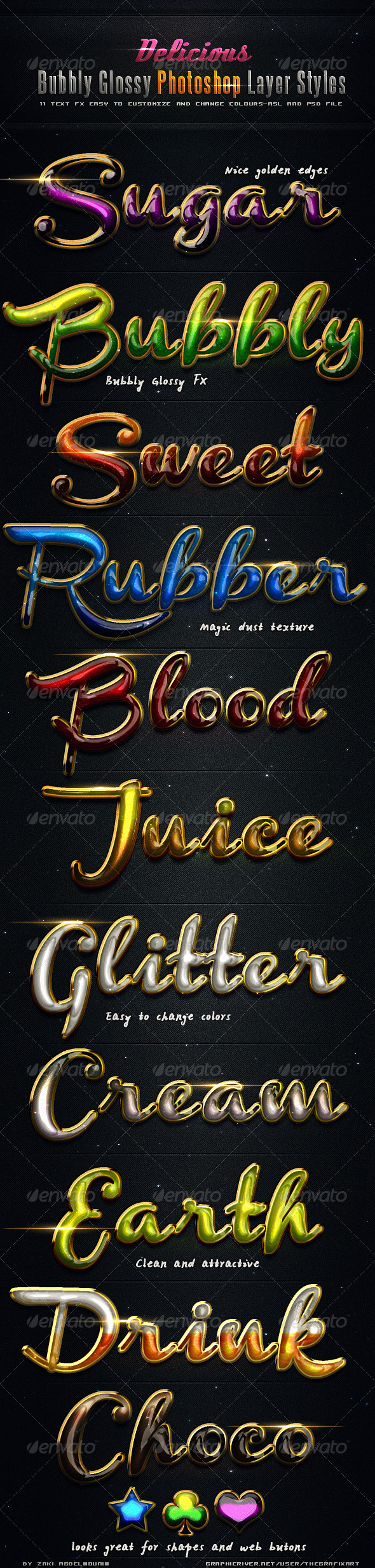 Delicious Bubbly Photoshop Styles - Text Effects Styles