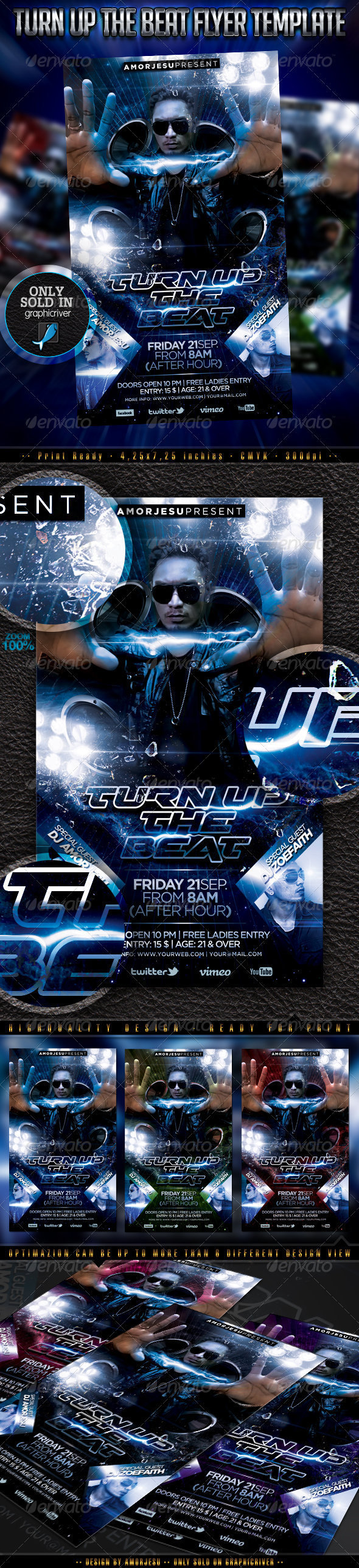Turn Up The Beat Flyer Template - Clubs & Parties Events