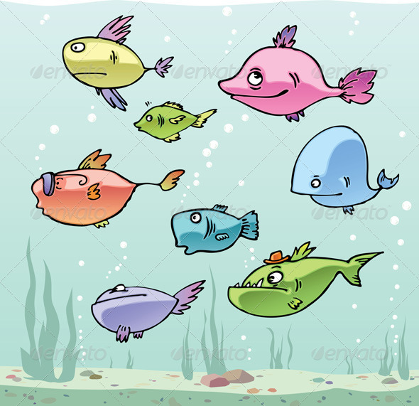 Set of the funny cartoon fishes in their habitat