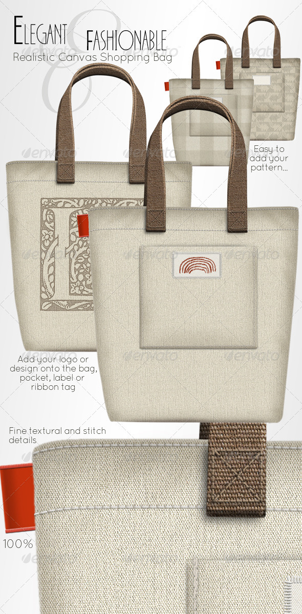 Shopping Bag; Elegant Fashion Canvas Carrier - Miscellaneous Packaging