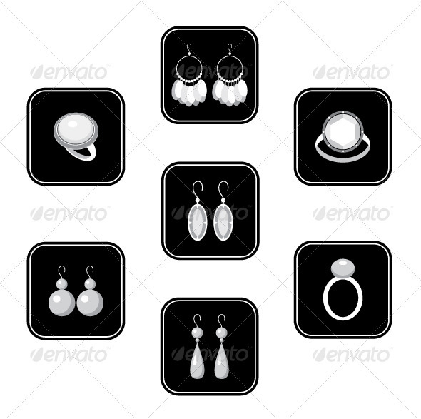 Set of black icons with jewelry