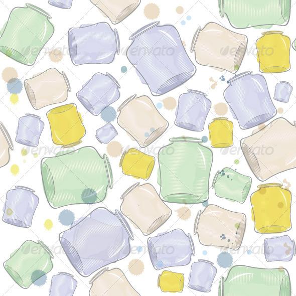 Water Color Jars Seamless Vector - Textures / Fills / Patterns Illustrator