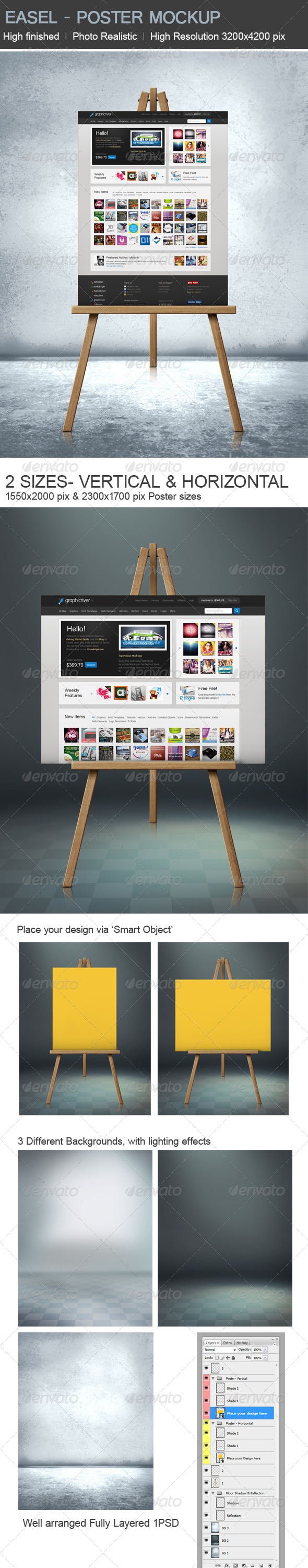 GraphicRiver Easel Poster Mock-up 3054180