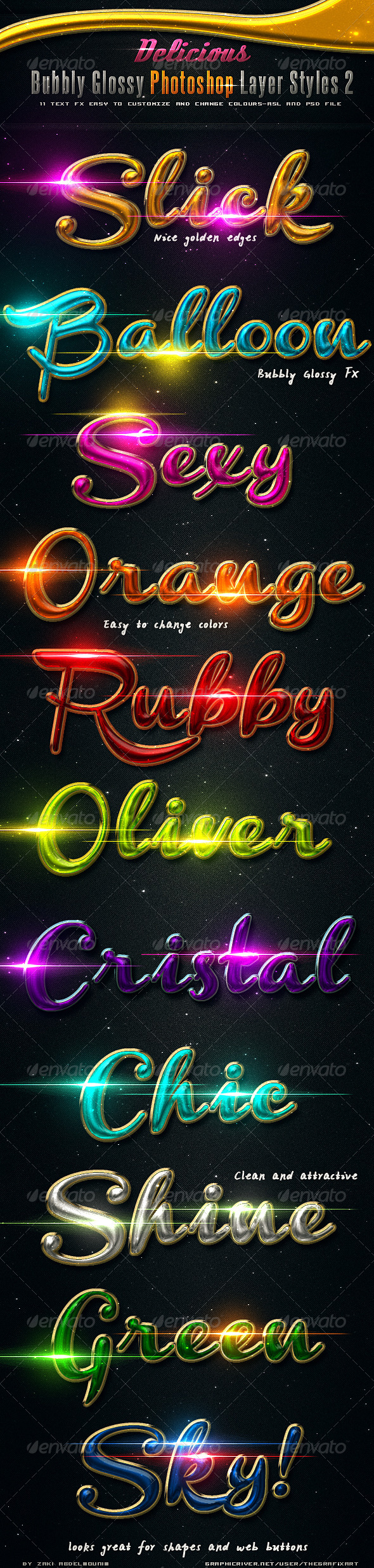 Delicious Bubbly Photoshop Styles 2 - Text Effects Styles