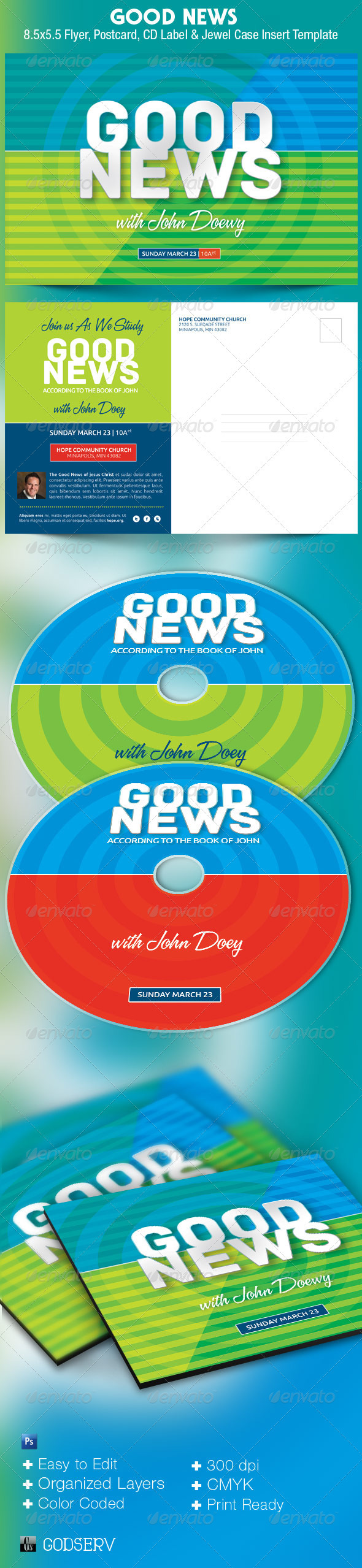 Good News Church Postcard and CD Template - Church Flyers