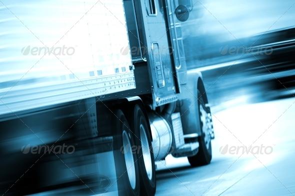 PhotoDune Semi Truck in Motion 3056103
