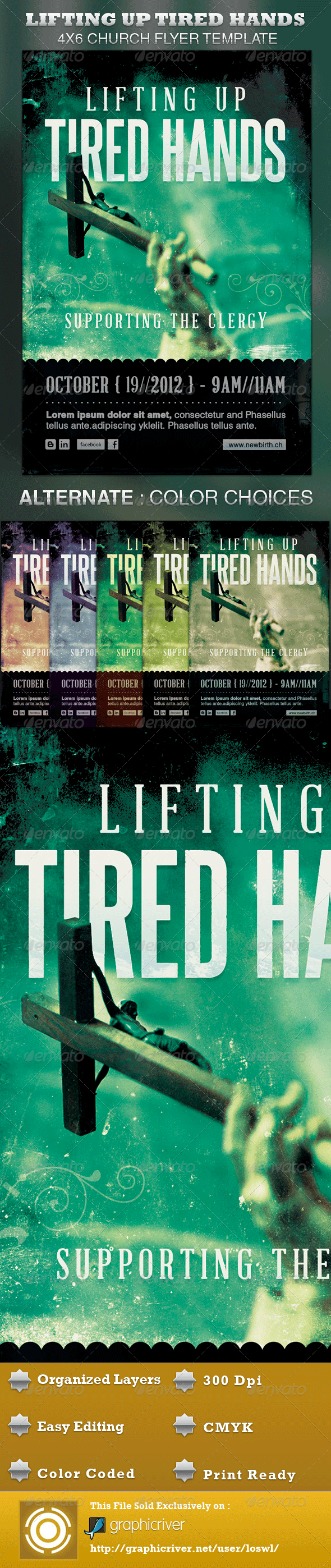 Lifting up Tired Hands Church Flyer Template