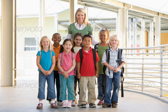 Stock Photo - PhotoDune Kindergarten teacher standing with children in corridor 313981