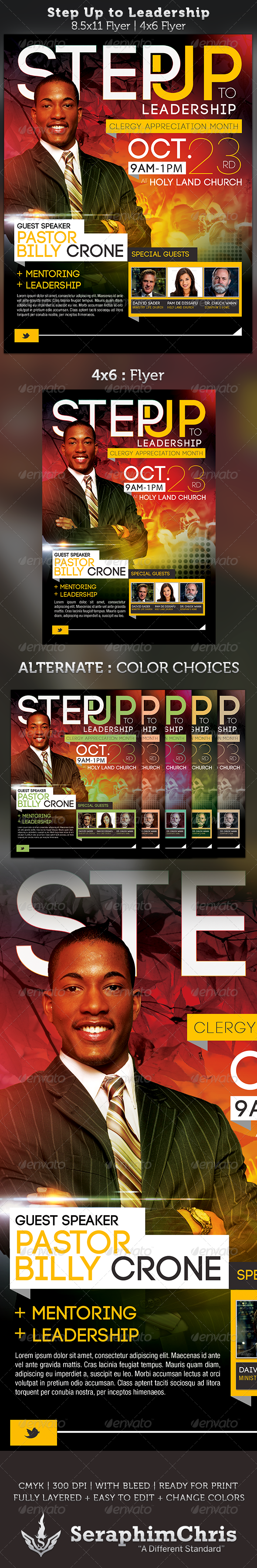 Step Up to Leadership Church Flyer Template