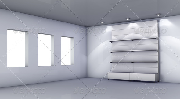 3d stand for exhibit in the grey interior - Stock Photo - Images