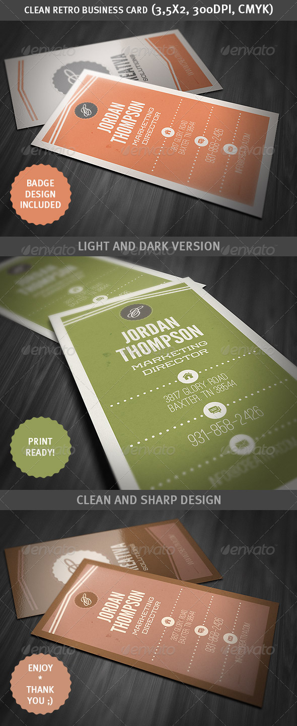GraphicRiver Clean Retro Style Business Card 3057172