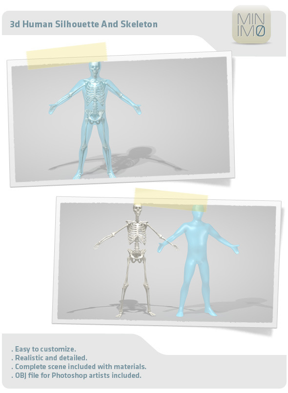 3d Human Silhouette And Skeleton - 3DOcean Item for Sale