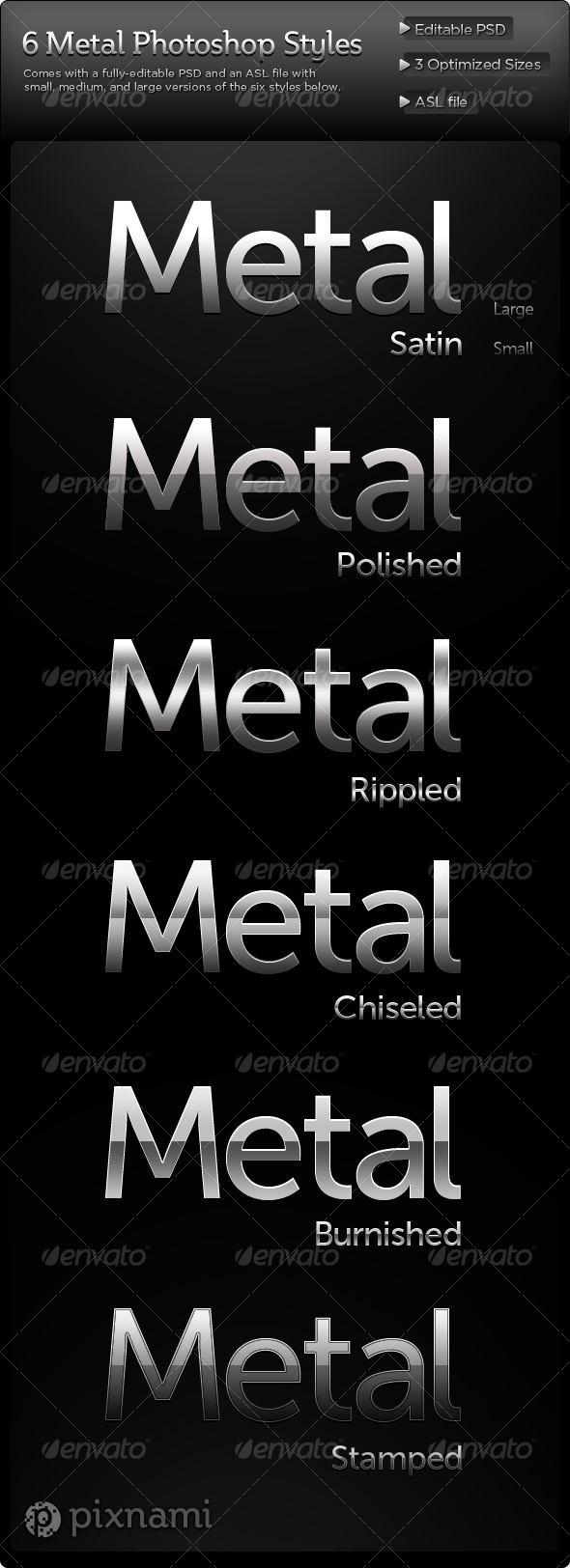 GraphicRiver Clean Metal Photoshop Styles 108661