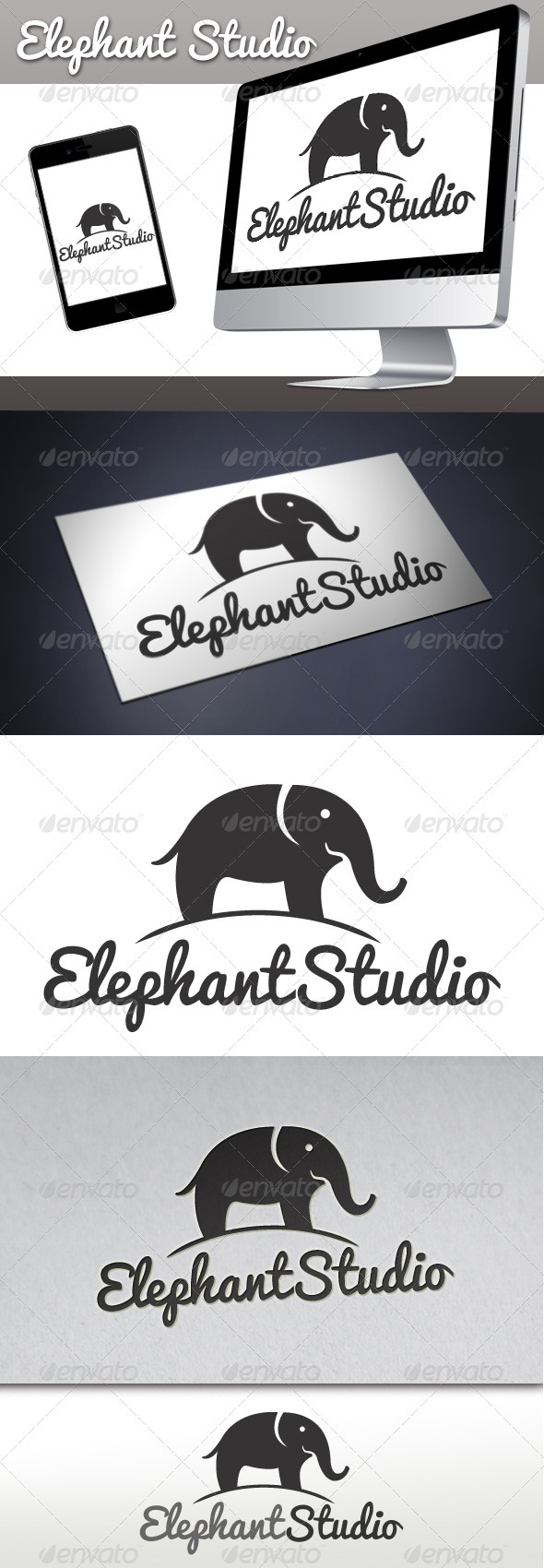 Elephant Studio Logo 1 - Animals Logo Templates