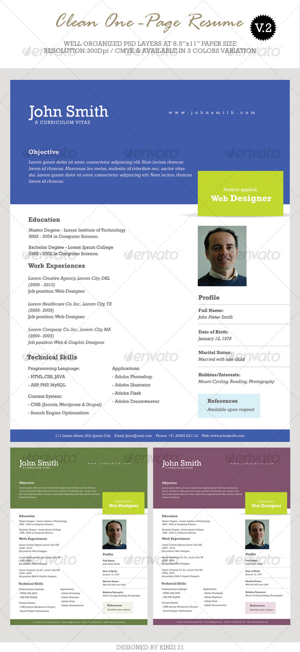 Clean One-Page Resume - Resumes Stationery