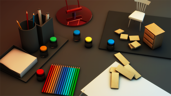 3DOcean Desk With Random Stuffs 3059868