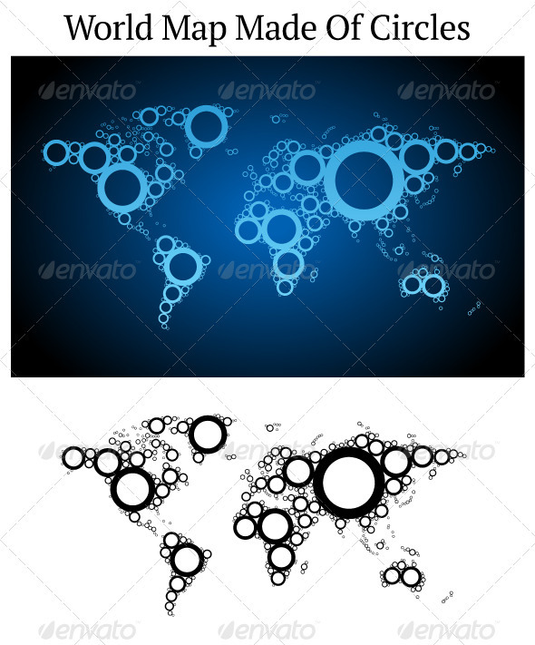 Vector World Map Made Of Circles
