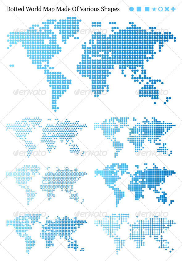 Dotted World Maps - Abstract Conceptual