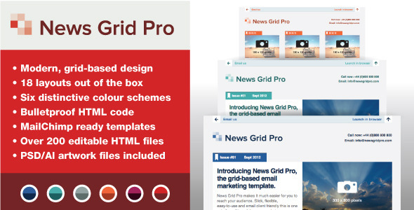 ThemeForest News Grid Pro Email Newsletter Template 3060493