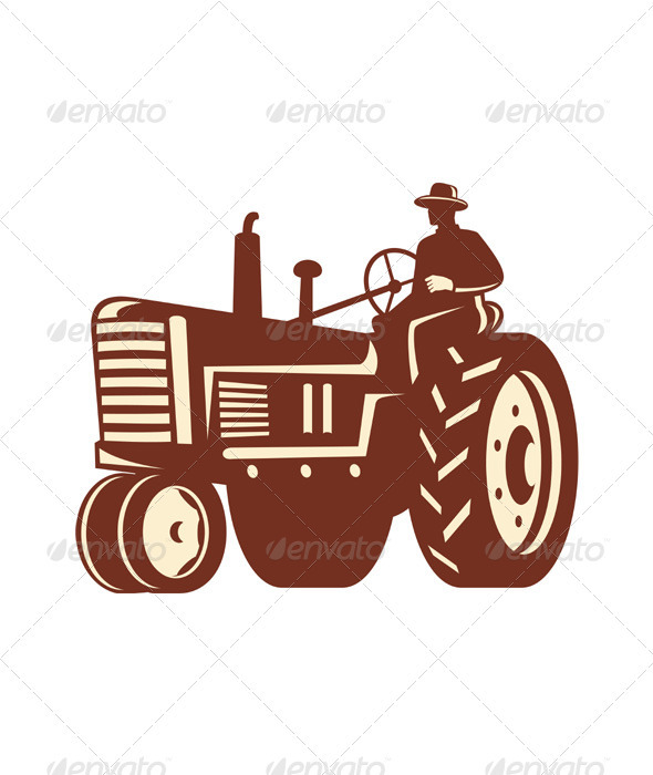 Farmer Driving Vintage Tractor Retro - Industries Business
