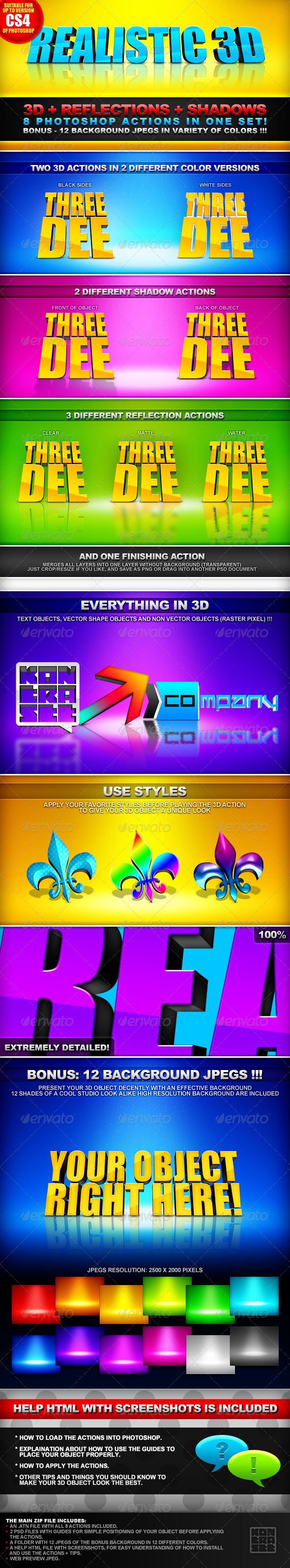 GraphicRiver Realistic 3D 8 Actions 3D& Shadows & Reflection 151048