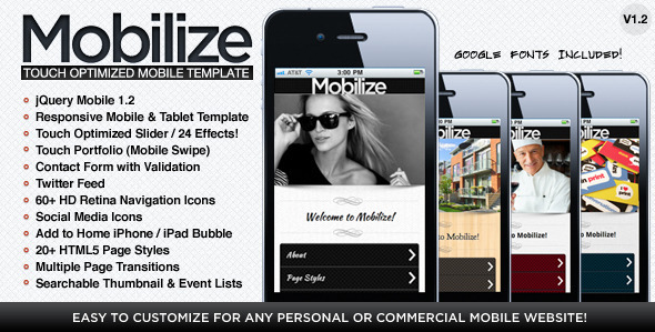 ThemeForest Mobilize Touch Optimized Mobile Template 1712565